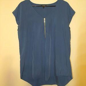 Express blue short sleeve zipper shirt.